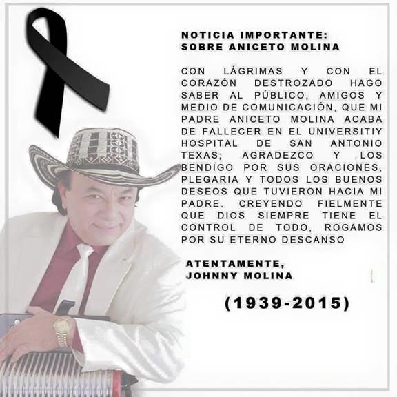 Falleció Aniceto Molina hoy lunes 30 de marzo