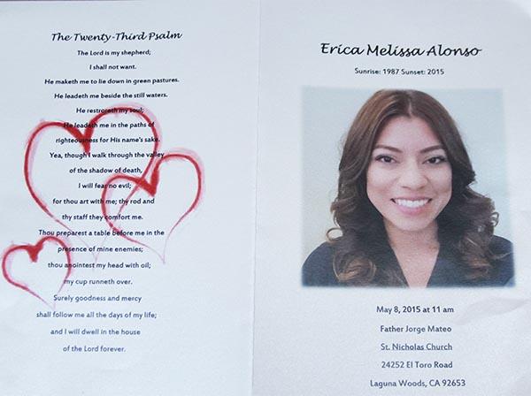 Toda una comunidad adolorida despide a Erica Alonso