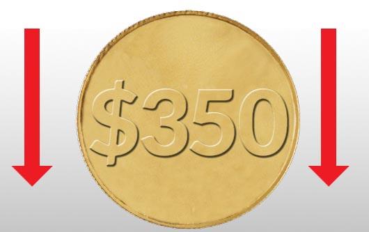 El precio del oro a sido reducido a tan sólo $350 la onza