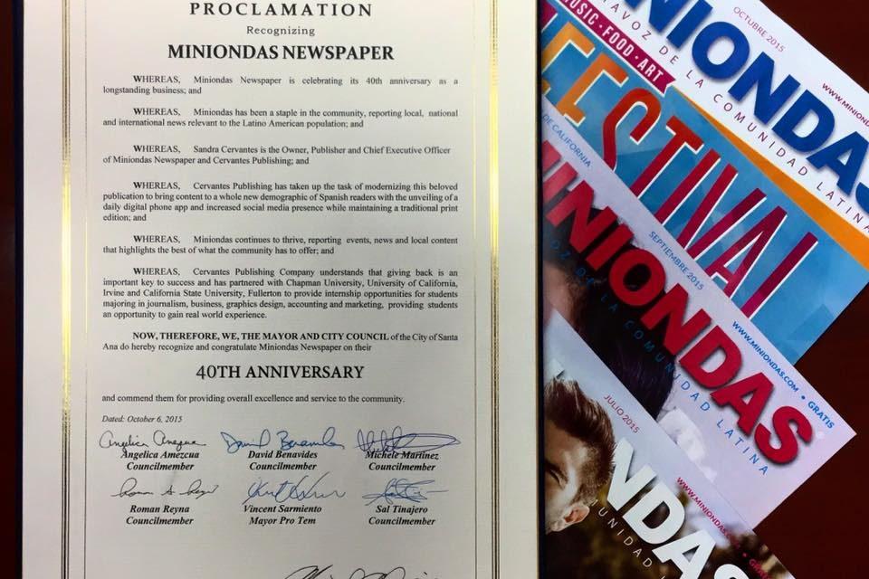 Miniondas recibe «Proclamación en Reconocimiento a su 40 Aniversario» de la Ciudad de Santa Ana
