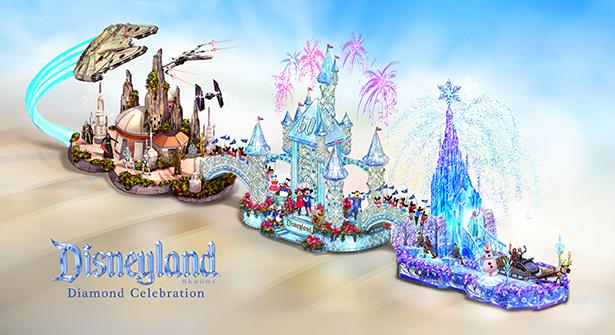 Carruaje por la Celebración de Diamante de Disneyland Resort participa en el Rose Parade 2016