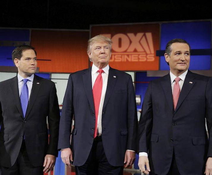Trump, Cruz y Rubio a la cabeza republicana hacia Iowa y New Hampshire