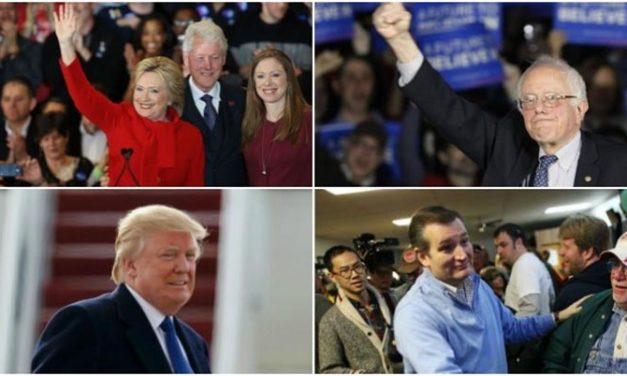 Cruz derrota a Trump en Iowa; Hillary y Sanders empatan