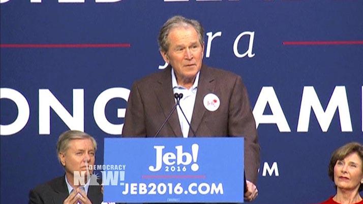 Ex presidentes William Clinton y George Bush Jr. respectivamente en campaña por Hillary y Jeb