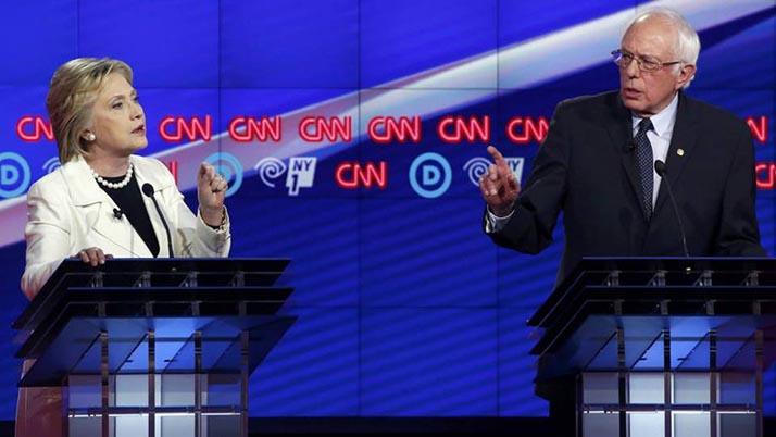 Sanders y Clinton se enfrentan sobre salario mínimo en debate demócrata en Brooklyn