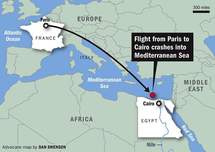 El avión de EgyptAir estrelló en lo más hondo del Mediterráneo
