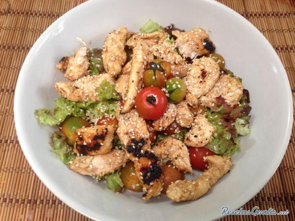 Receta de Ensalada de pollo agridulce