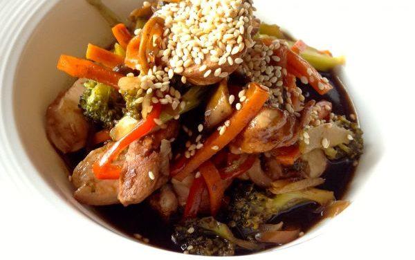 Receta de Pollo teriyaki con verduras