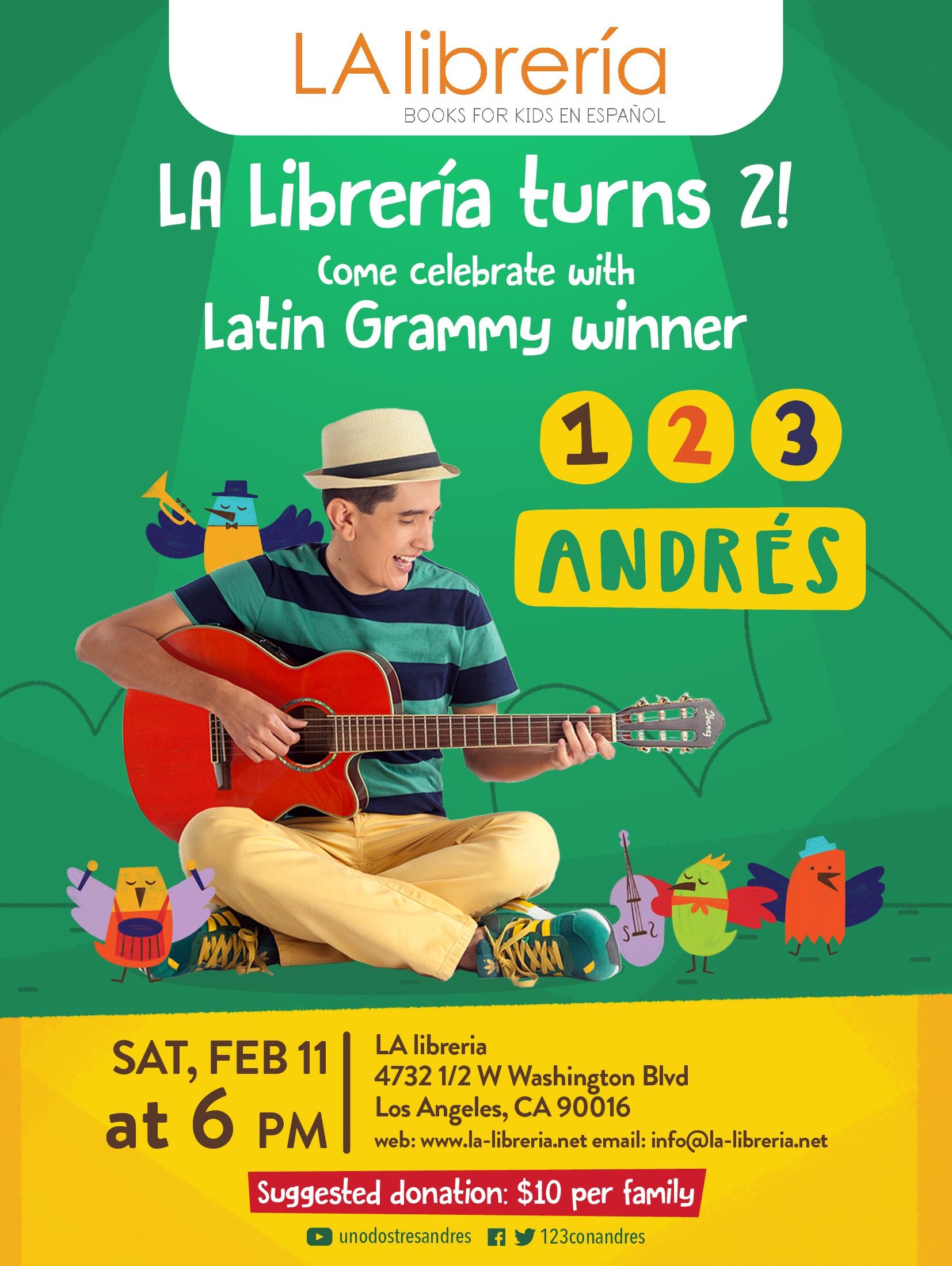 La Librería presenta un dos tres con Andrés  este once de febrero