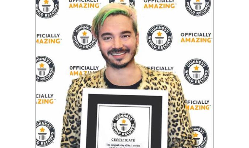 GUINNESS WORLD RECORDS™  honra a J BALVIN por ser el artista solista con mayor duración  en el #1 del listado Hot Latin Songs