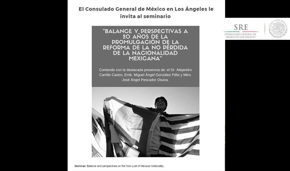 «Balance y perspectivas a 20 años no pérdida de la nacionalidad Mexicana»