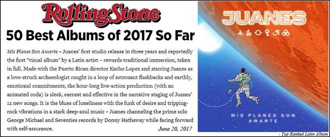 ROLLING STONE  Nombra A  «Mis Planes Son Amarte» De JUANES Como Uno De Los  «50 Mejores Albums Del 2017 Hasta El Momento»