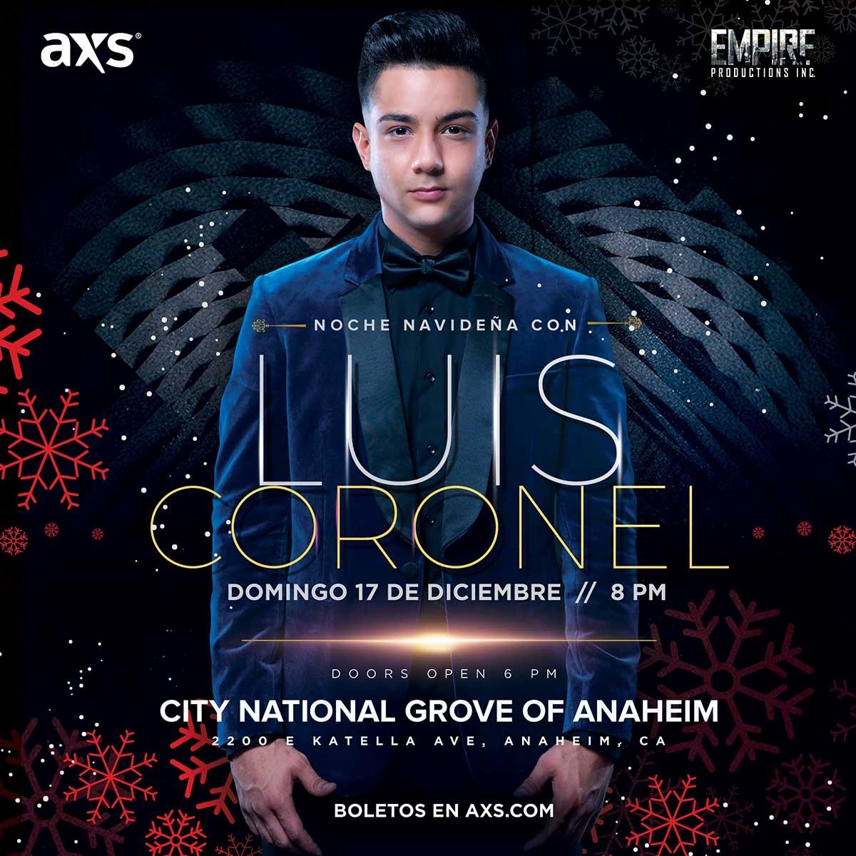 Luis Coronel comparte el espíritu navideño con concierto especial en Anaheim