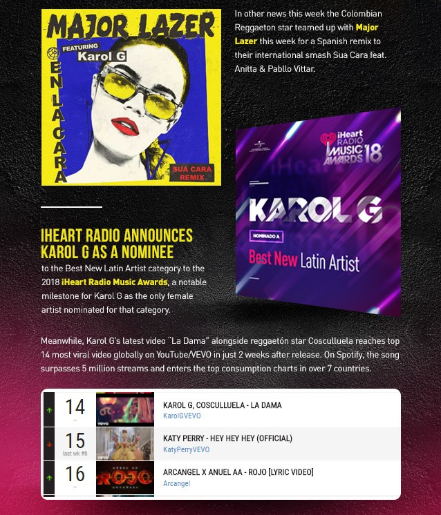 """Karol G and Major Lazer Team Up For """"En La Cara"""" Remix, Nominated To Iheart Radi O Music Awards and Kicks Off The Unstoppable Tour 2018 In Argentina"""