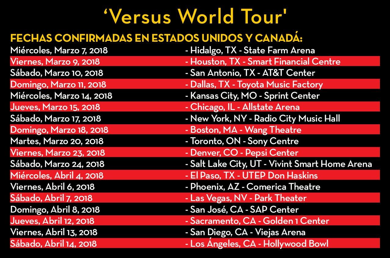 'Versus World Tour' anuncia su histórico cierre en Estados unidos