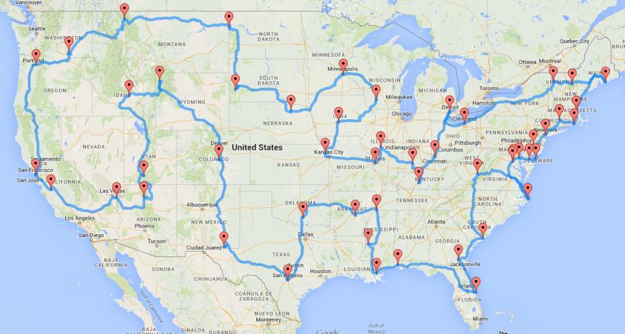 Computing el viaje por carretera óptimo en los EE. UU.