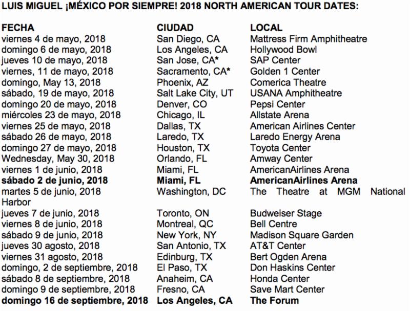 Luis Miguel añade fechas a su gira en Los Ángeles y Miami