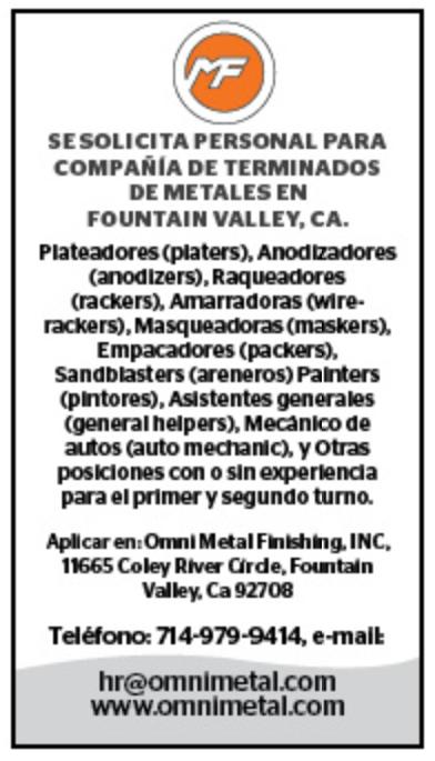 Anuncio - Compañia de Terminados de Metales en Fountain Valley, CA