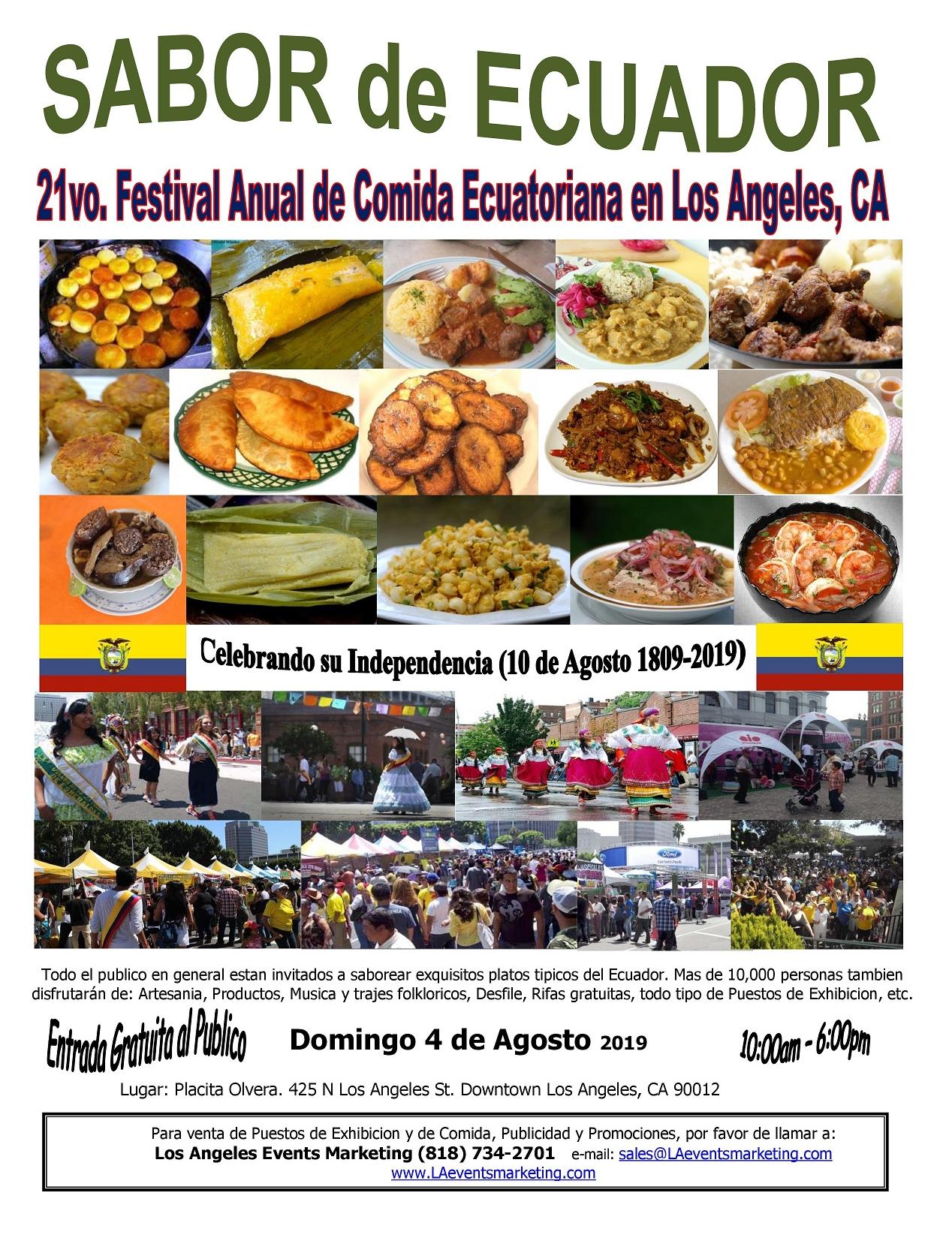 21avo. Festival y Desfile Ecuatoriano – Domingo 4 de Agosto 2019 – Placita Olvera in Downtown Los Angeles