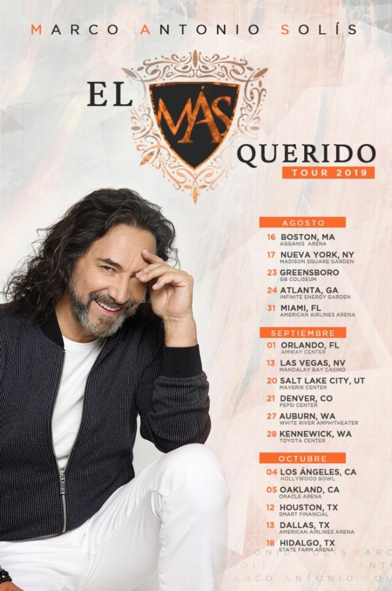 Marco Antonio Solis y su siempre fiel público en los Estados Unidos se encontrarán de nuevo en la gira «El Más Querido»