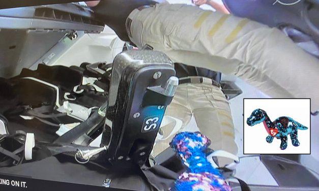Un peluche de dinosaurio acompañó a los tripulantes del Dragon Endeavour