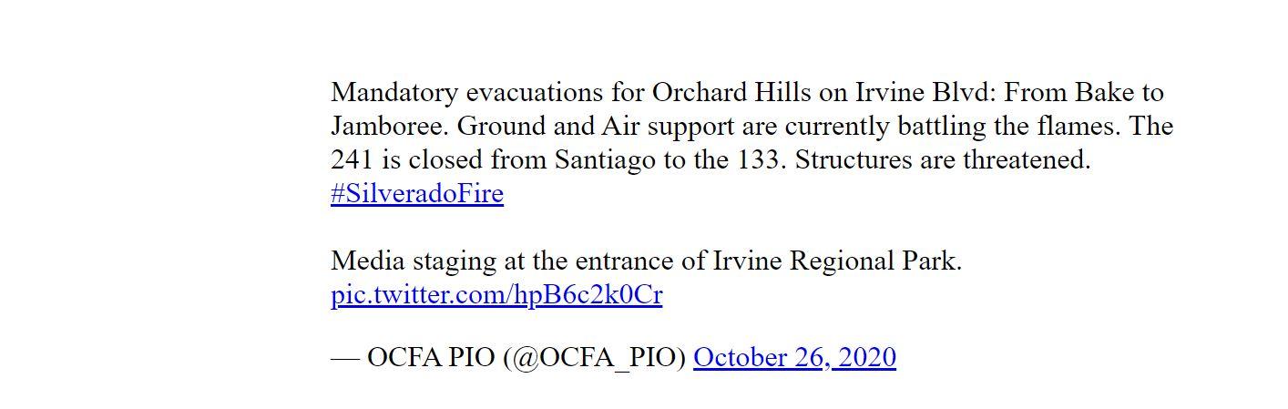 El incendio Silverado obliga evacuaciones inmediatas para unos 60,000 residentes en Irvine