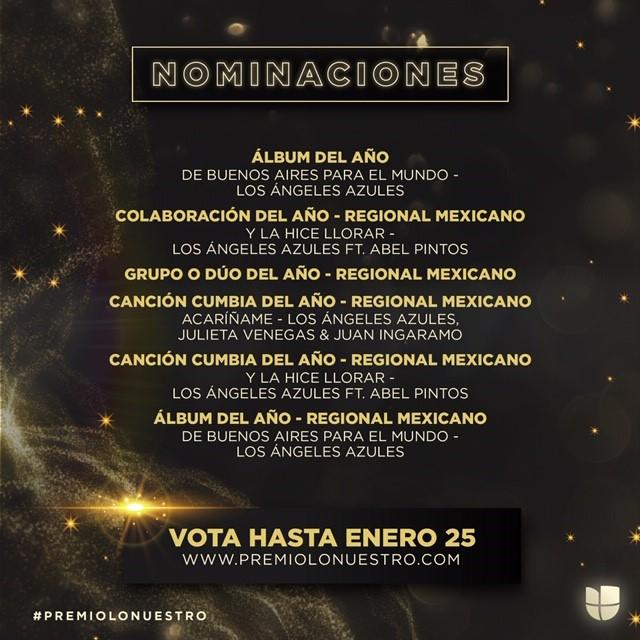 """Abel Pintos con múltiples nominaciones de su colaboración con Los Ángeles Azules """"Y La Hice Llorar"""" a los Premios Lo Nuestro"""