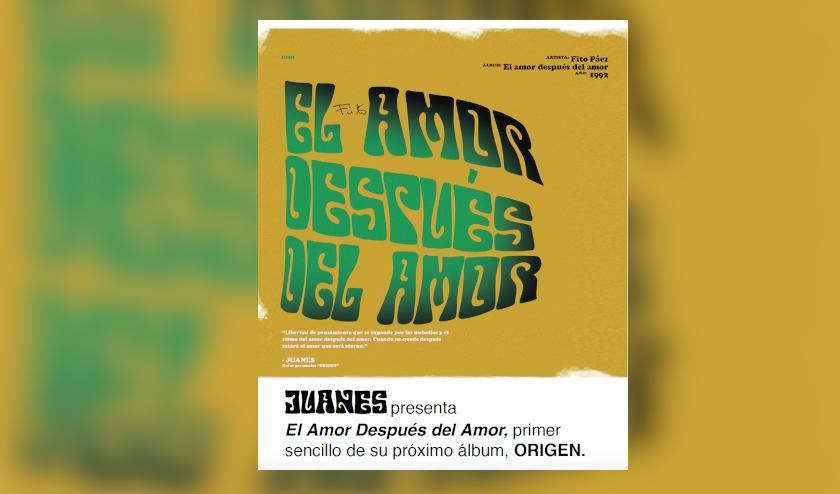 Juanes presenta el Amor Después del Amor, primer sencillo de su próximo álbum Origen