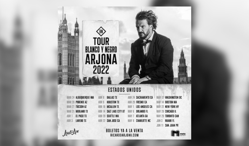 Ricardo Arjona – tour USA 2022 ¨Blanco y Negro¨